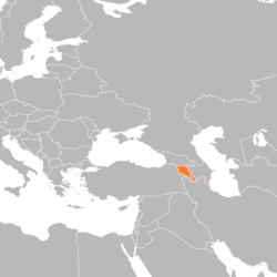 Location of Armenia on the European continent
