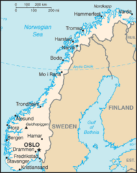 Location of Norway on the European continent