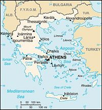 Location of Greece on the European continent