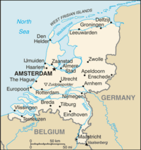 Location of the Netherlands on the European continent