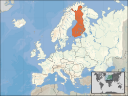 Location of Finland on the European continent