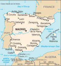 Location of Spain on the European continent