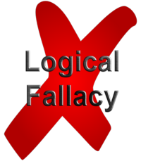Red X over the words 'logical fallacy'