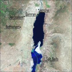 Location of Jerusalem near the Dead Sea