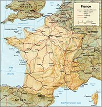 Location of France on the European continent
