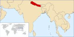 Location of Nepal on the Asian continent