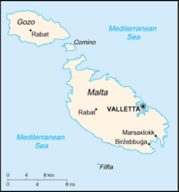 Location of Malta on the European continent