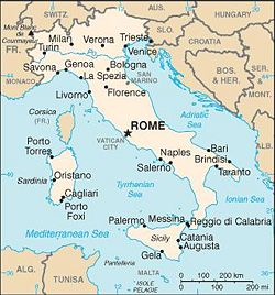 Location of Rome in Italy