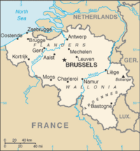 Location of Belgium on the European continent