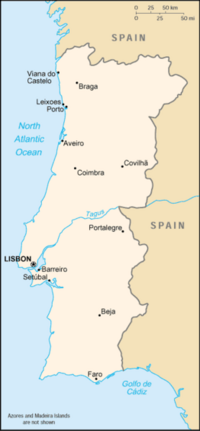 Location of Portugal on the European continent
